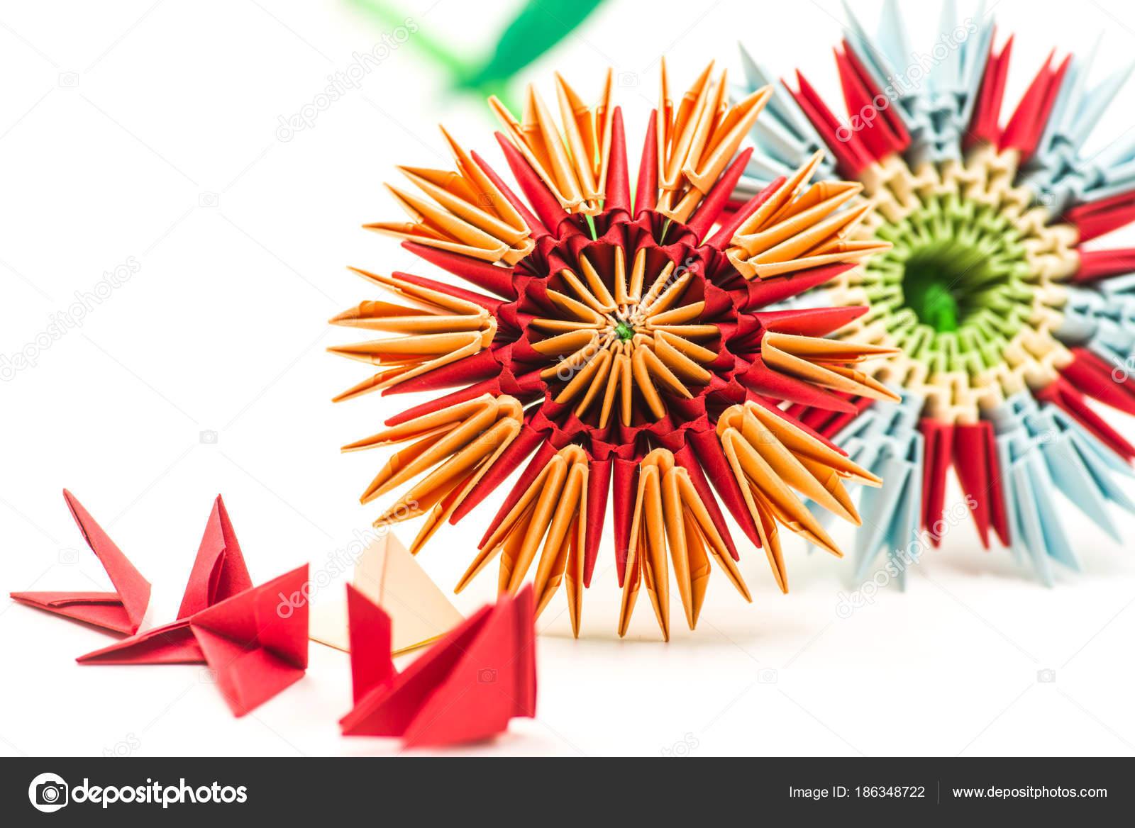 Dos Flores De Origami Modular Con Módulo Bloques Aislados En