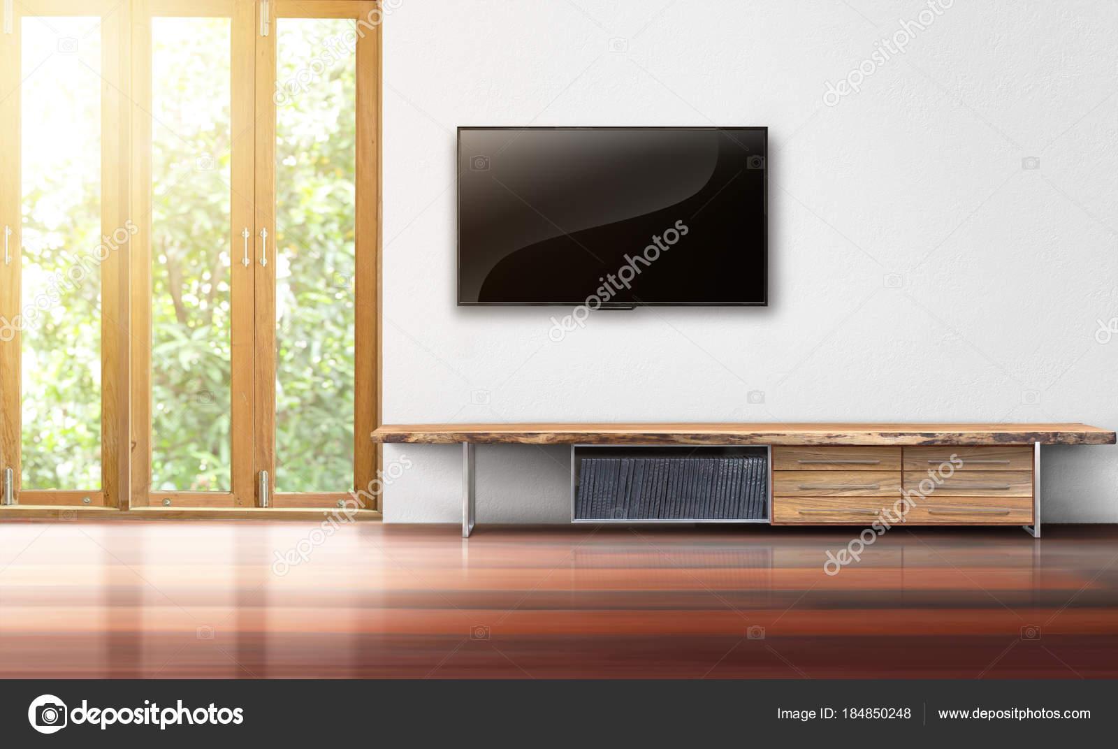Tv No Interior De Vazio Sala De Parede Branca Fotografias De Stock