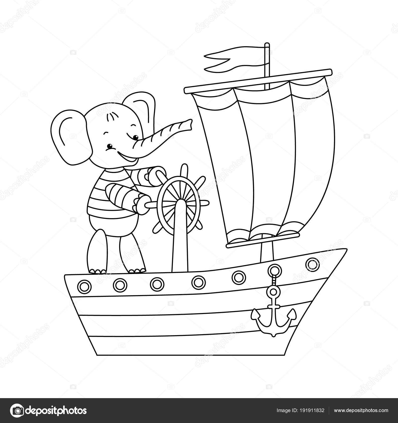 Boyama Sayfası Fil Bir Gemide Beyaz Arka Plan üzerinde Vektör Stok