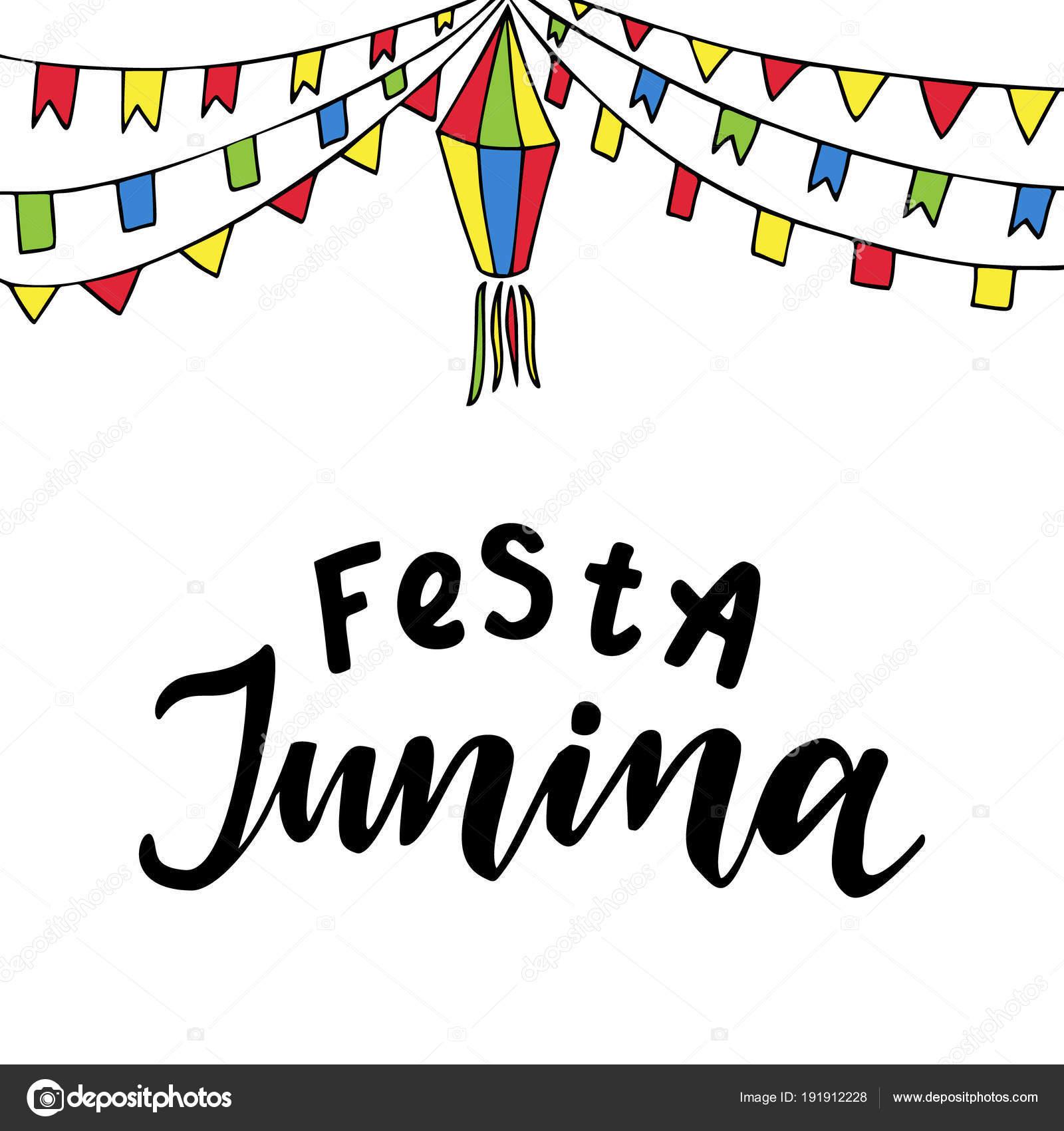 Foto Frase Festa Junina Festa Junina Hand Drawn Vector