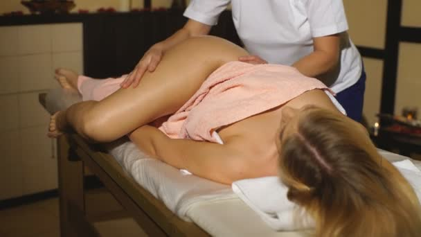 Position Of Hands At Lymphatic Drainage Massage Of A Female Body Stock Video