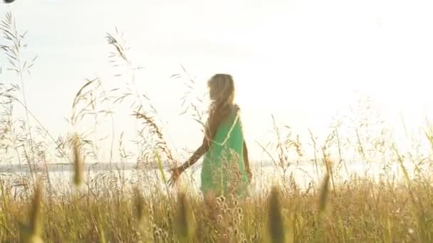 Beautiful blonde woman goes into the field slow motion