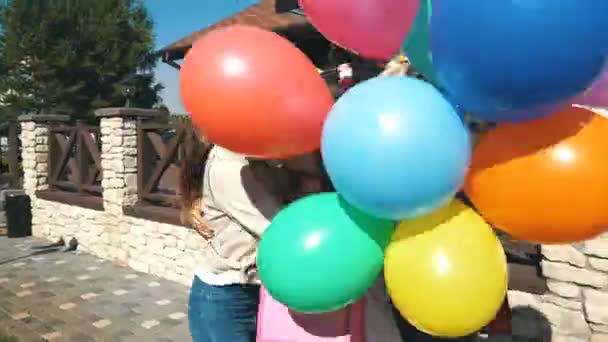 Friend Congratulate The Birthday Girl Happy And Give Her Gifts Balloons Stock Footage