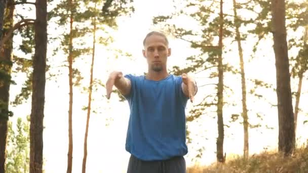 Man Yoga Meditation Nature Peaceful Concept in the woods by the river
