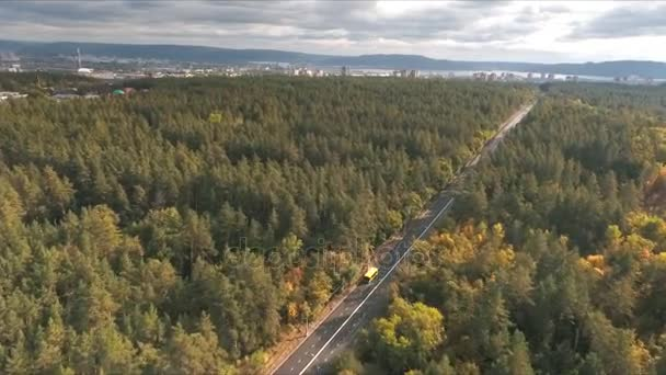 aerial view on Road in the autumn forest