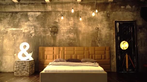Loft Bedroom Double Bed Modern Interior Design. Comfortable Contemporary Furniture Front View