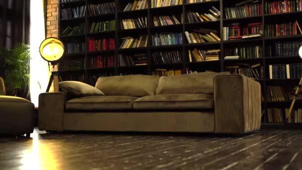 Loft interiér s knihovnou, krásnou pohovkou a dřevěnou podlahou.