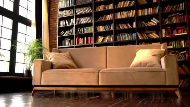 Modern room design with beige sofa