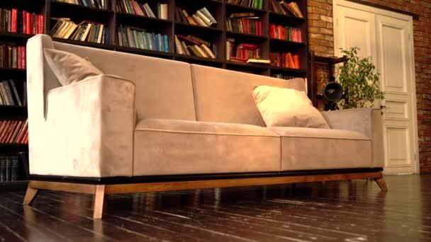 Stylový luxusní obývací pokoj s béžovou koženou pohovkou a knihovnami v pozadí