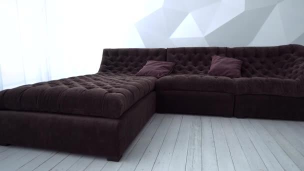 brown sofa is in the furniture shop