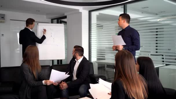 Young businessman at the office presentation