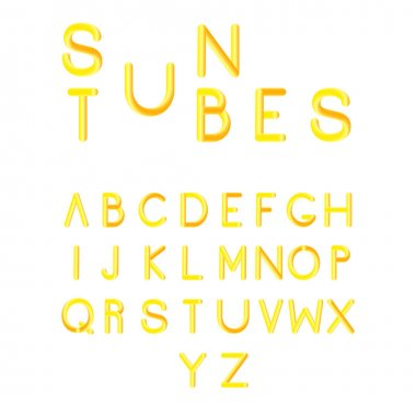 Stylized colorful font. Alphabet with vibrant colors