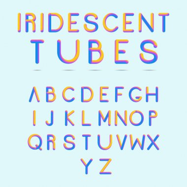 Shiny letters. Stylized colorful alphabet with vibrant colors