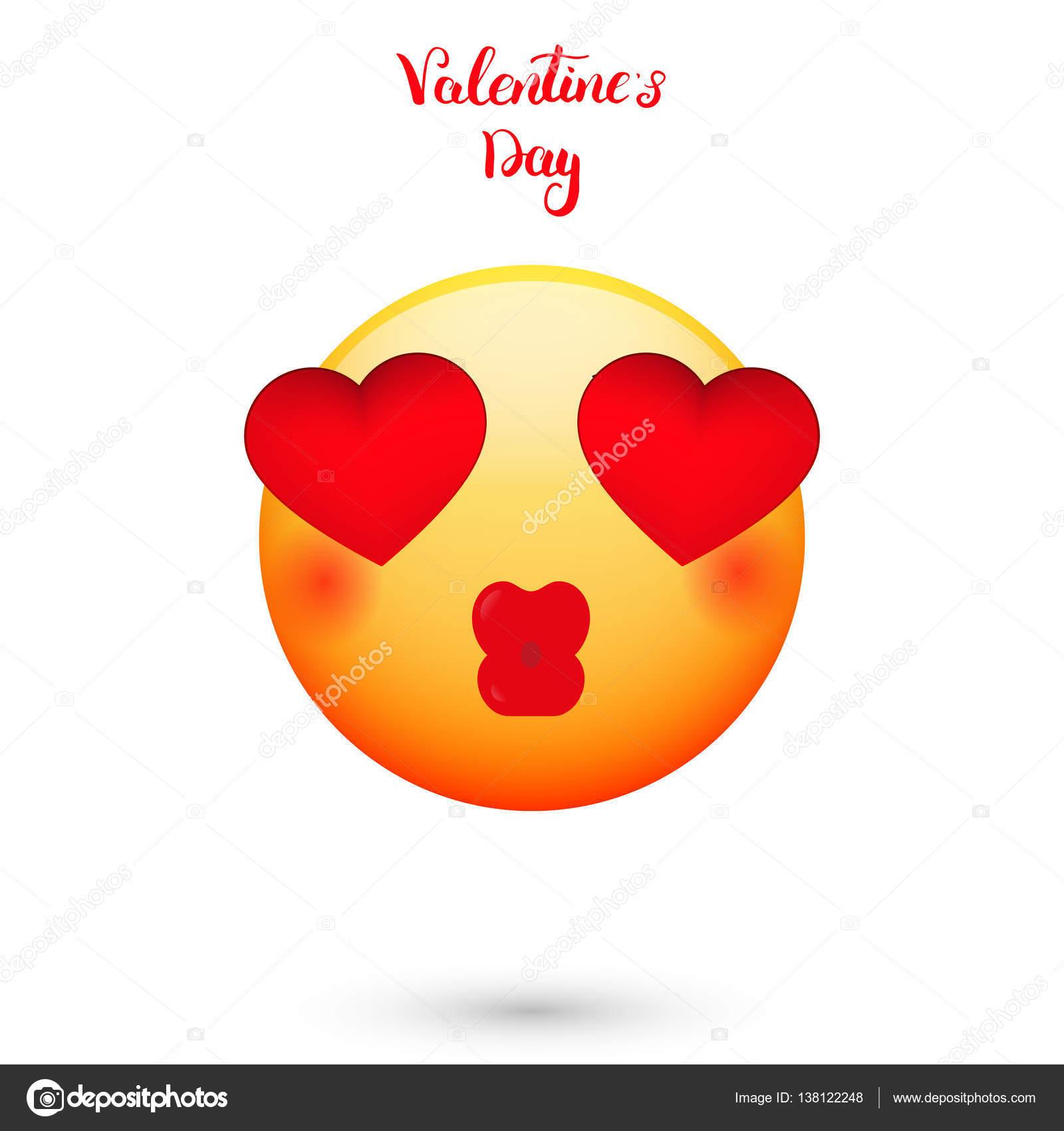 Emoticon Fur Den Valentinstag Emoji Mit Herzen Augen Stockvektor