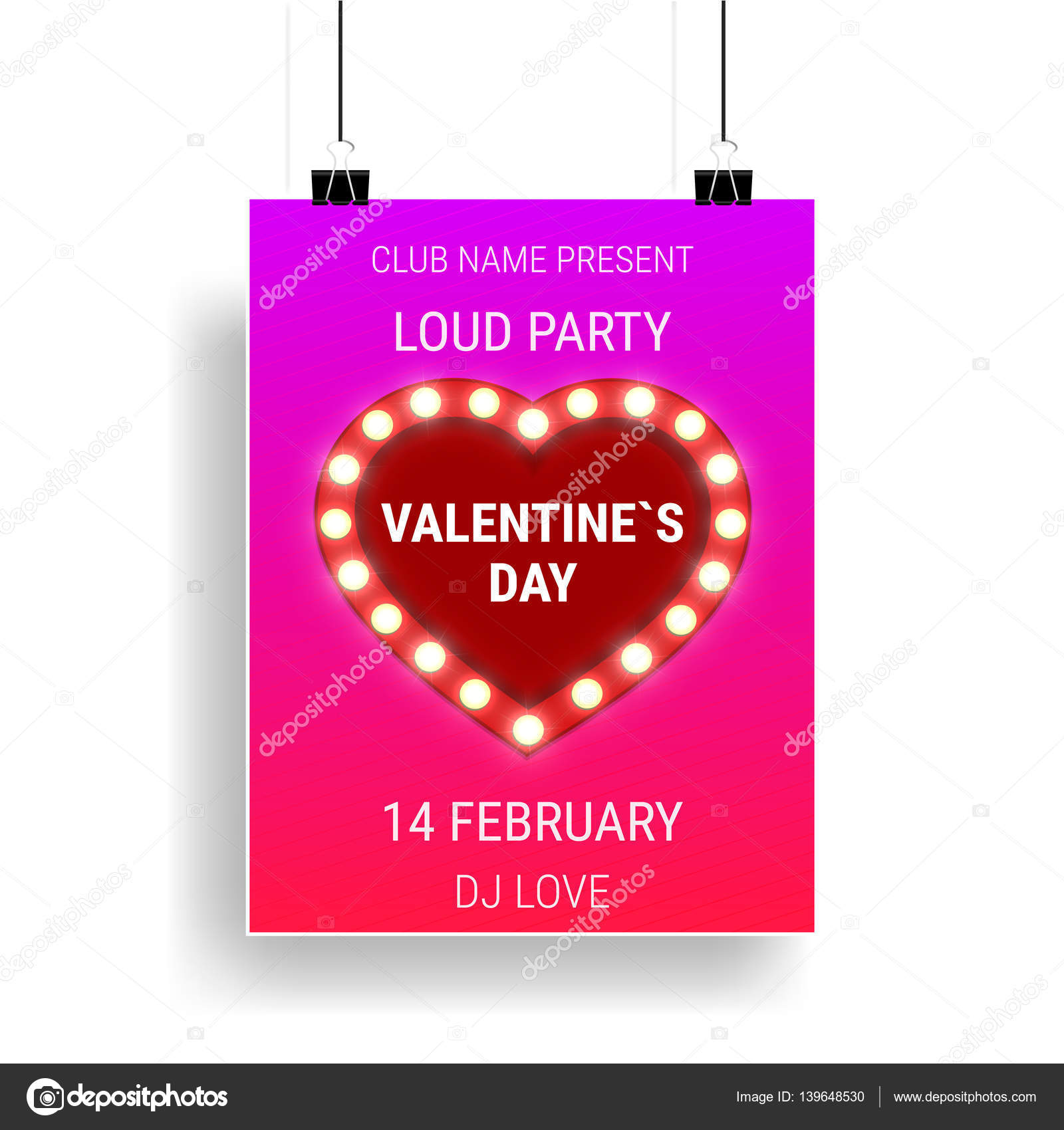 Valentines Day Party Poster Template With Shiny Heart And Lightbulbs