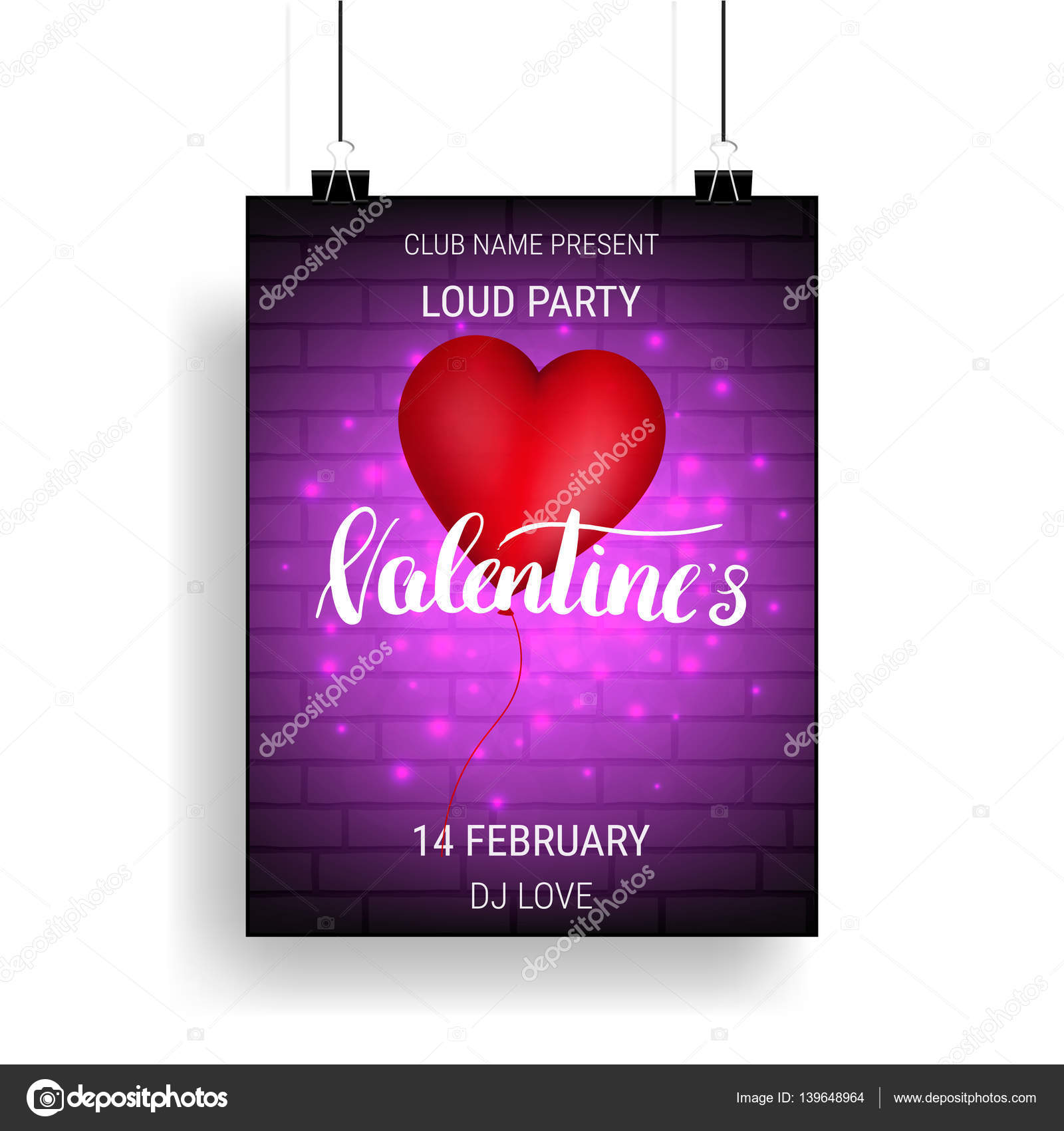 Valentines Day Party Poster Template With Glossy Balloon And