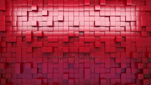 3D vykreslování. Červené extrudované kostky. Abstraktní pozadí. Smyčka