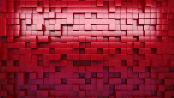 3D vykreslování. Červené extrudované kostky. Abstraktní pozadí. Smyčka.
