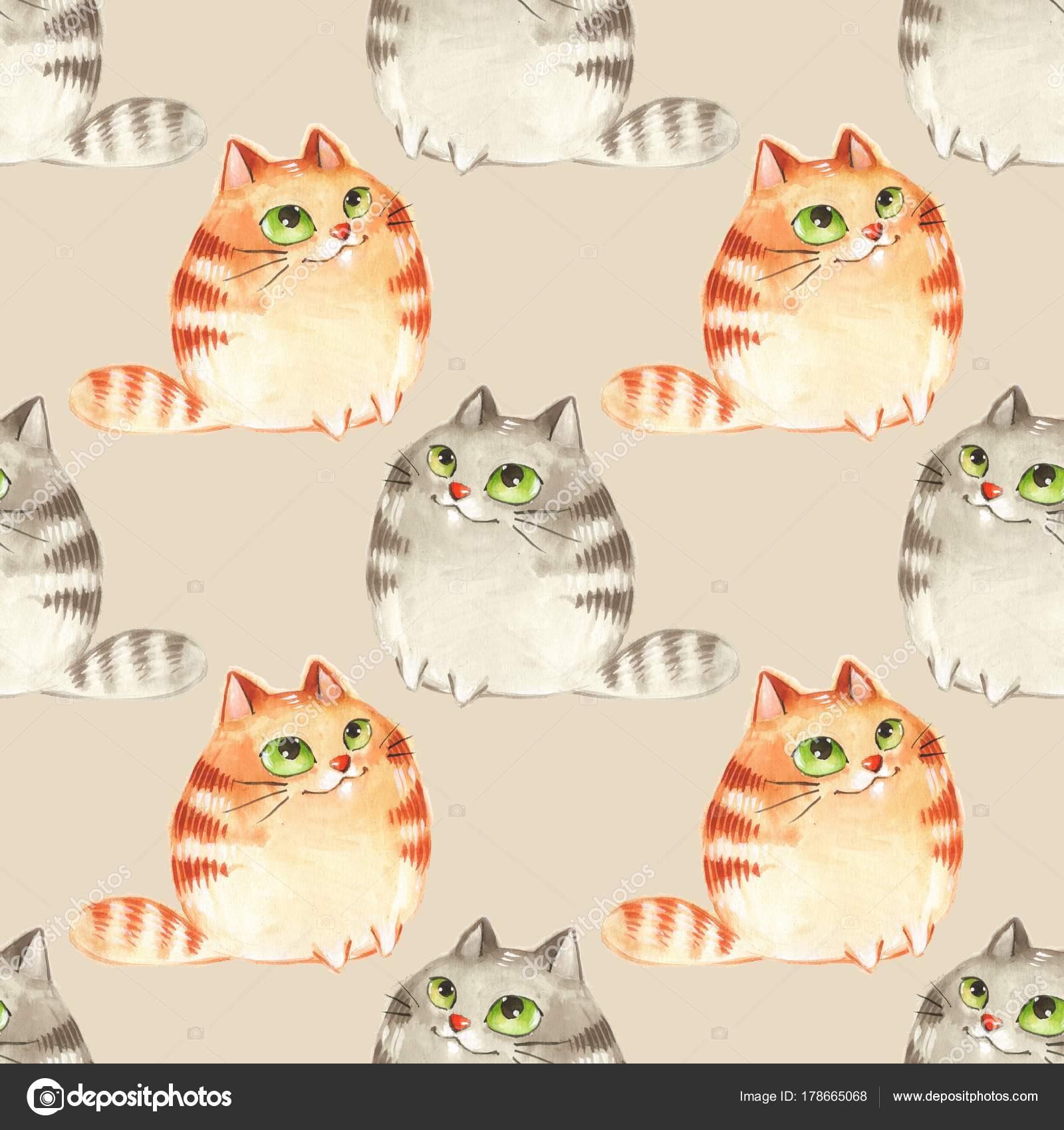 Gatos de dibujos animados acuarela, patrón transparente 6 — Fotos de ...