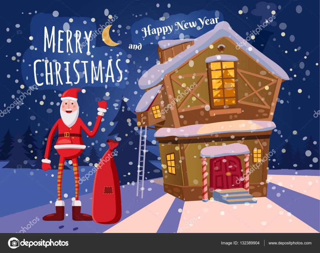 Süße Weihnachtsgrüße.Süße Weihnachtsgrüße Frohes Neues Jahr Karte Land Weihnachtsmann