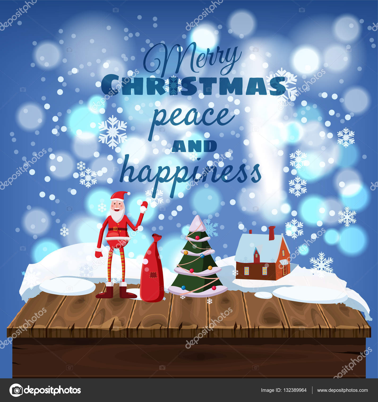 Cute christmas greeting cards wooden table covered with snow cute christmas greeting cards wooden table covered with snow santa claus with a bag of gifts vacation home cartoon style vector illustration vector kristyandbryce Image collections