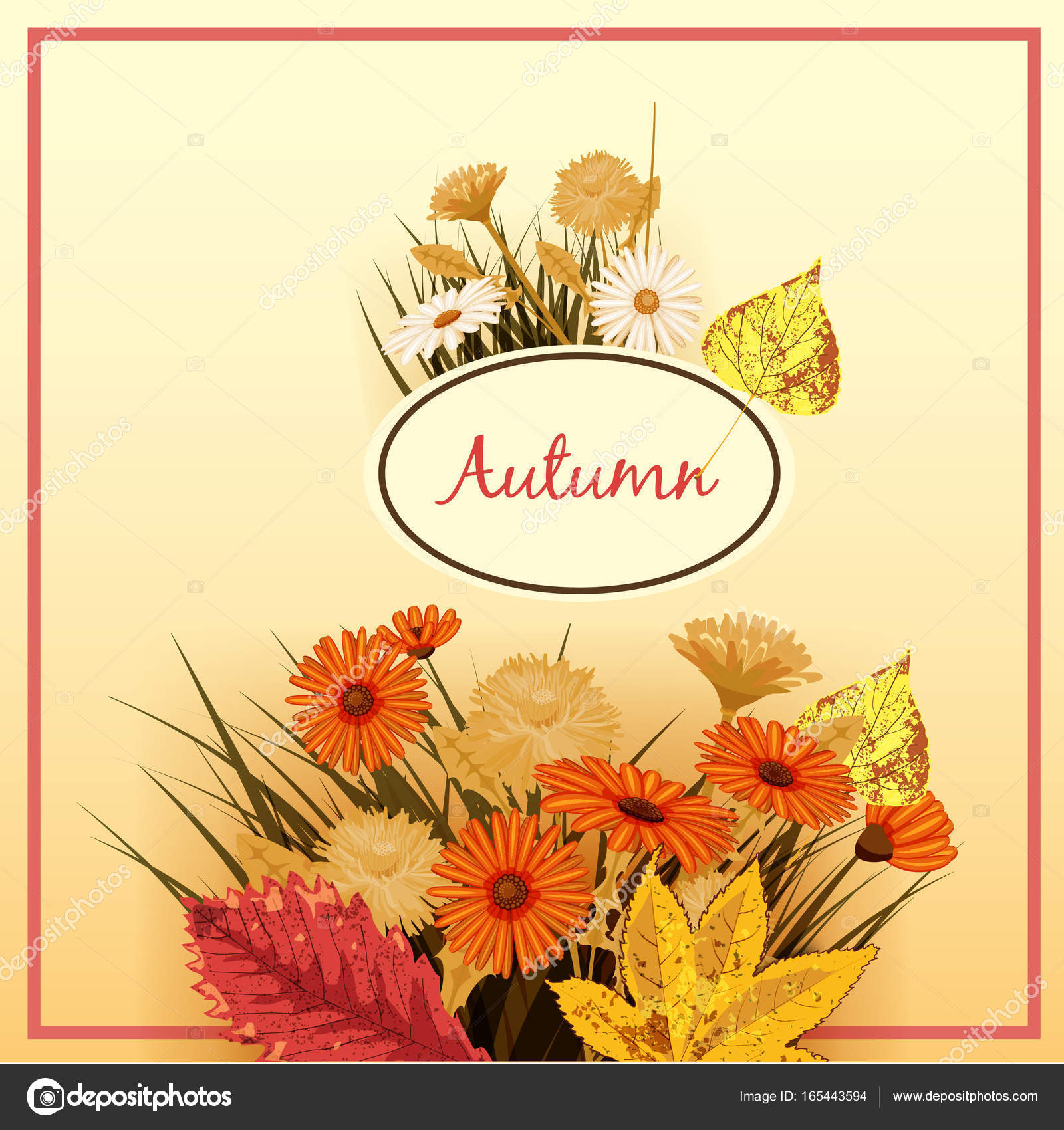 Beautiful Autumn Flowers Leaves Bouquet Yellow Brown Orange