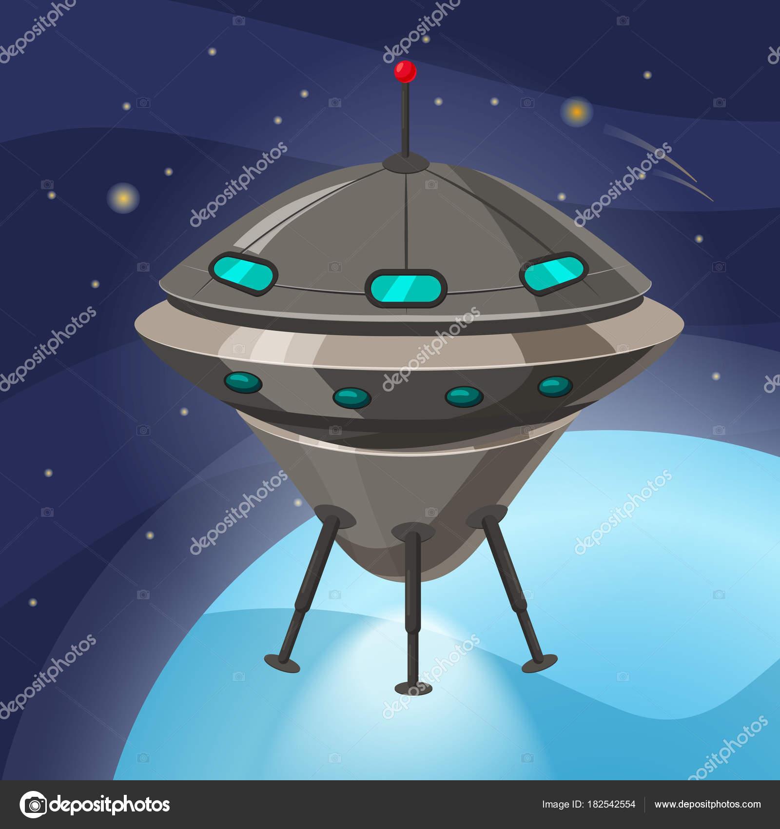 Ufo 宇宙船漫画のスタイルは背景の分離宇宙惑星 ベクトル イラスト