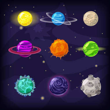 Set of fantastic planets on cosmic background, cartoon style, isolated, vector, illustration
