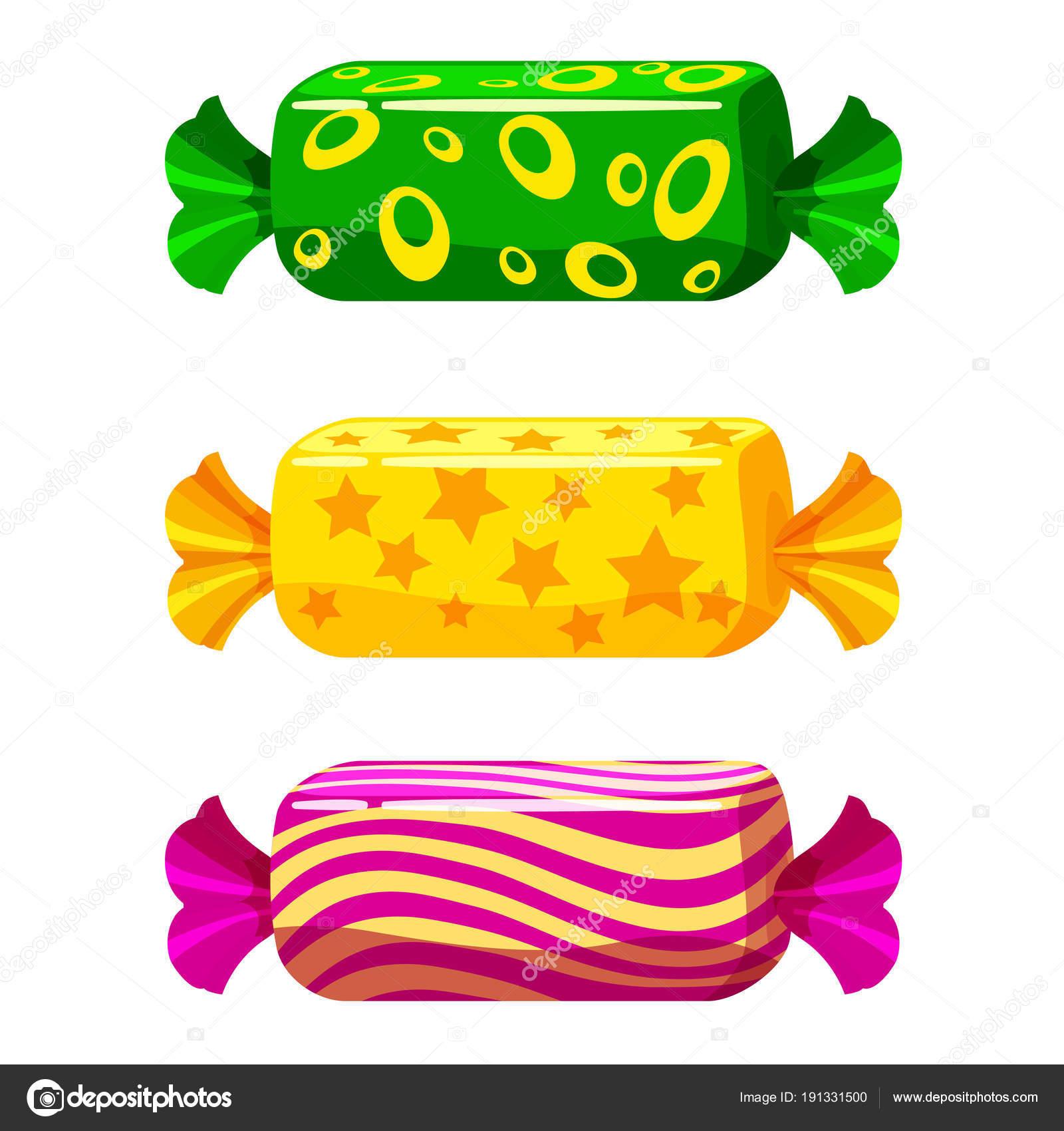 さまざまな色のパッケージで甘いお菓子のセットをベクトルします漫画の