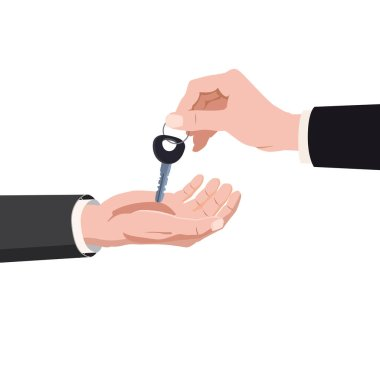 Hand giving keys ome, real estate property purchase, rent, sale buying concept. Vector isolated cartoon style isolated