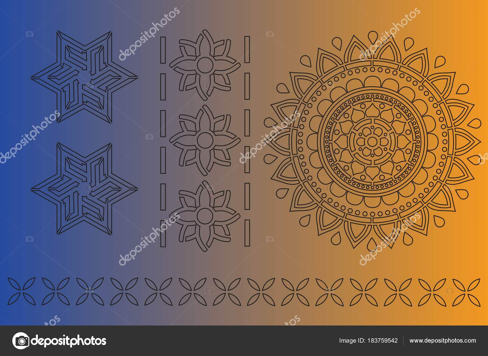 indische ornament schablone kunst — stockvektor © 7koluchka7 #183759542
