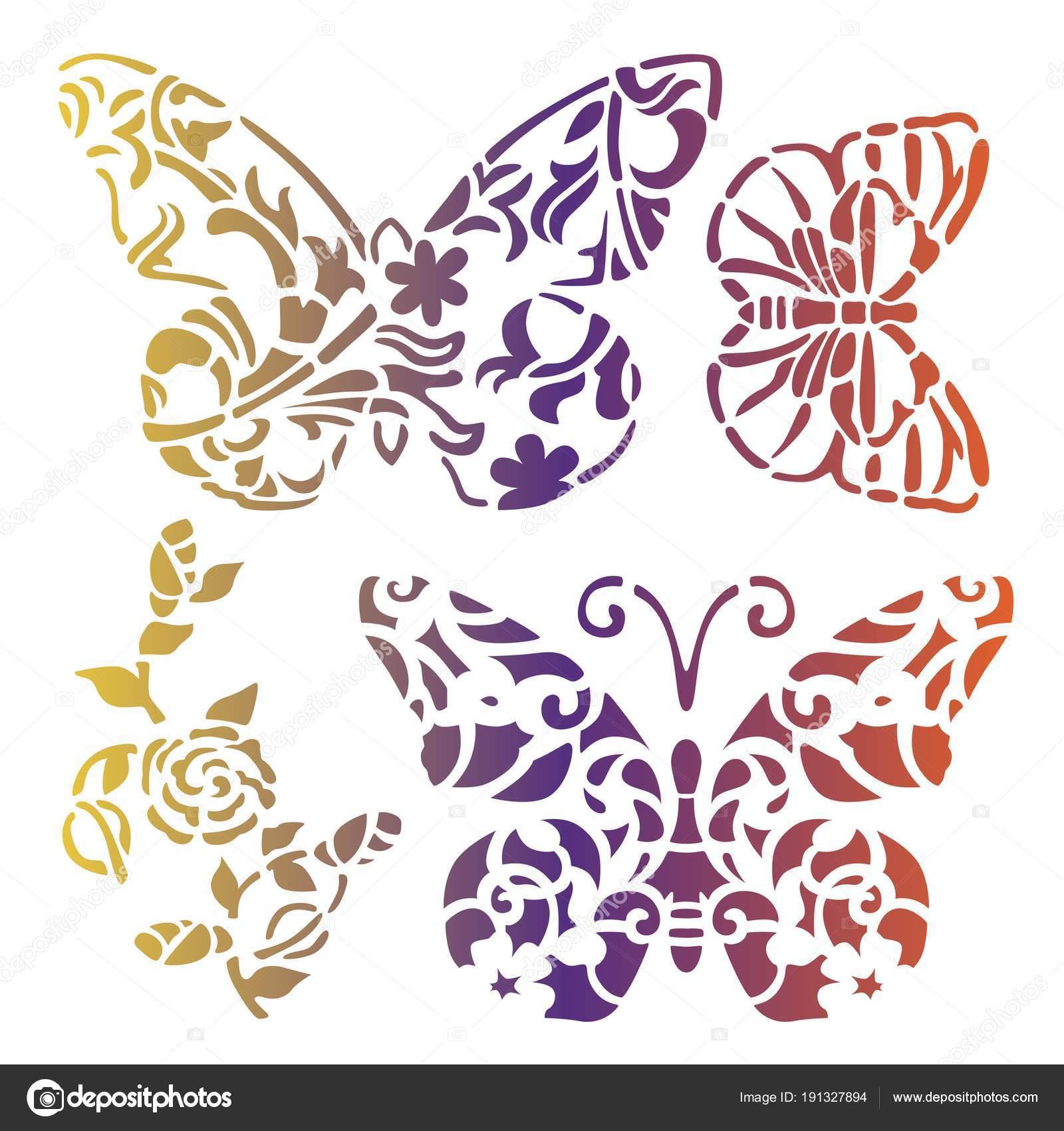 Imágenes Descargar Plantillas De Mariposas Arte Gradiente