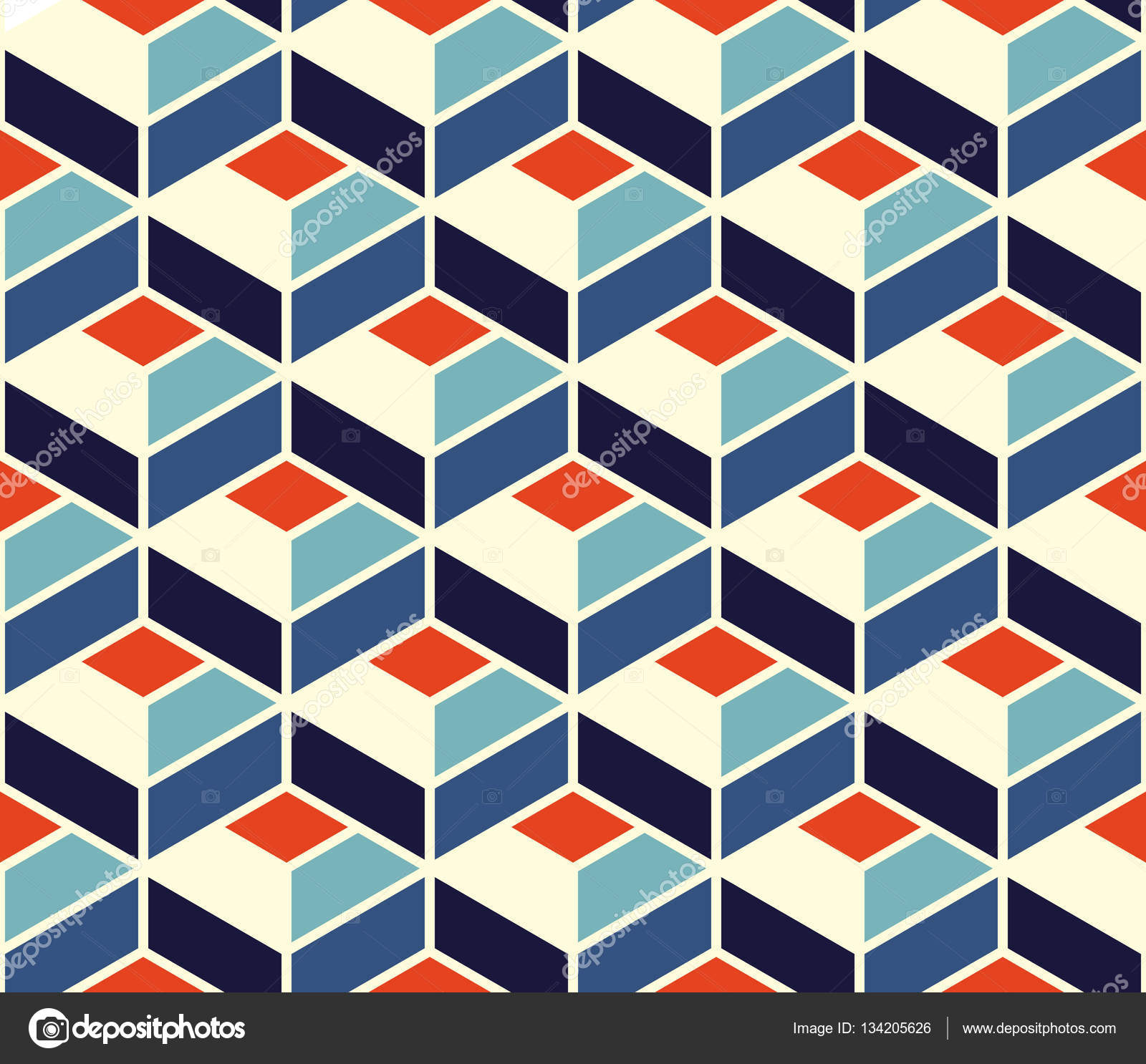 Vector Seamless Geometric Tiling Pattern In Blue and Orange Colors ...
