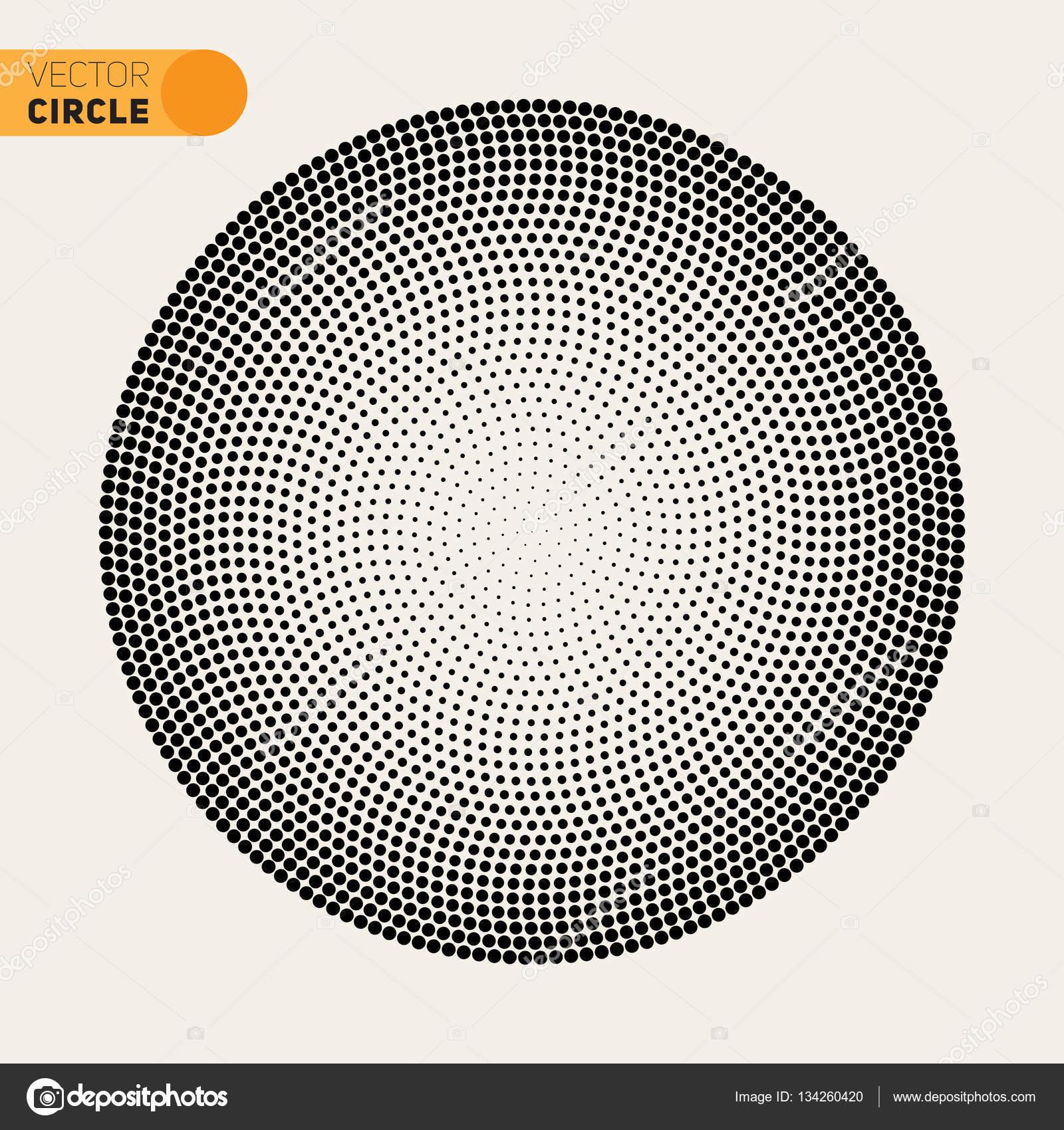 Vector Black And White Fibonacci Spiral Circle Halftone Pattern ...