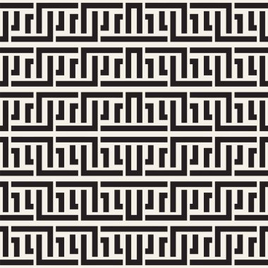 Interlacing Lines Maze Lattice. Ethnic Monochrome Texture. Abstract Geometric Background Design. Vector Seamless Black and White Pattern.