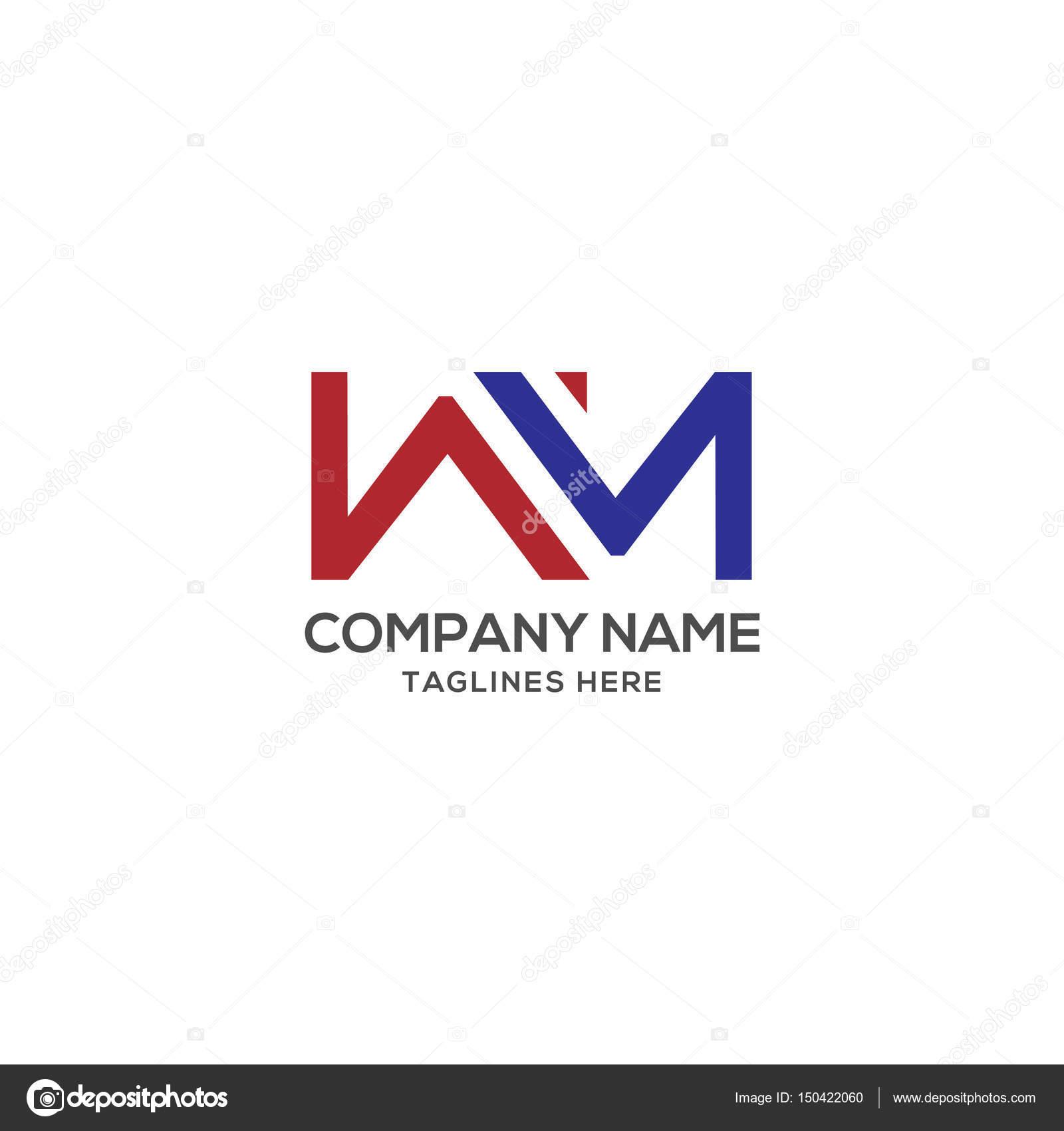 Wm Letter Logo Design Vector Illustration Template Stock