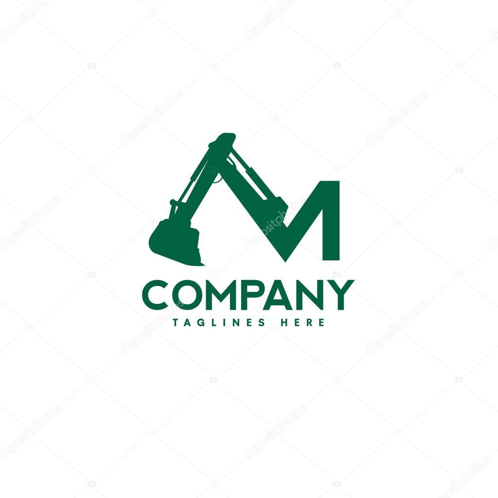 letter M Excavators Construction machinery logo