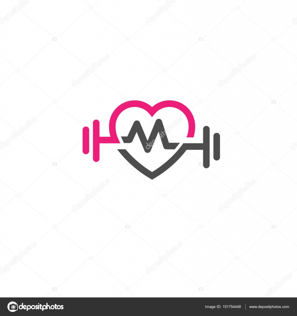 Love Fit With Pulse Logo Vector Letter M Stock