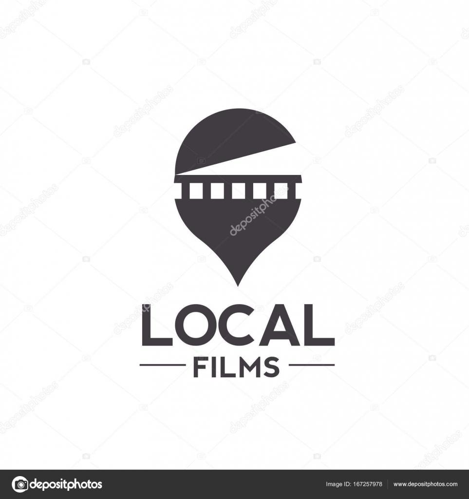 映画とピンのロケーターのロゴの組み合わせ ストックベクター