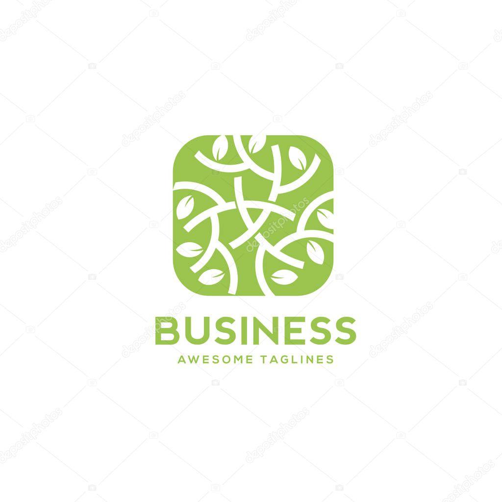 green leaf decorative rectangle