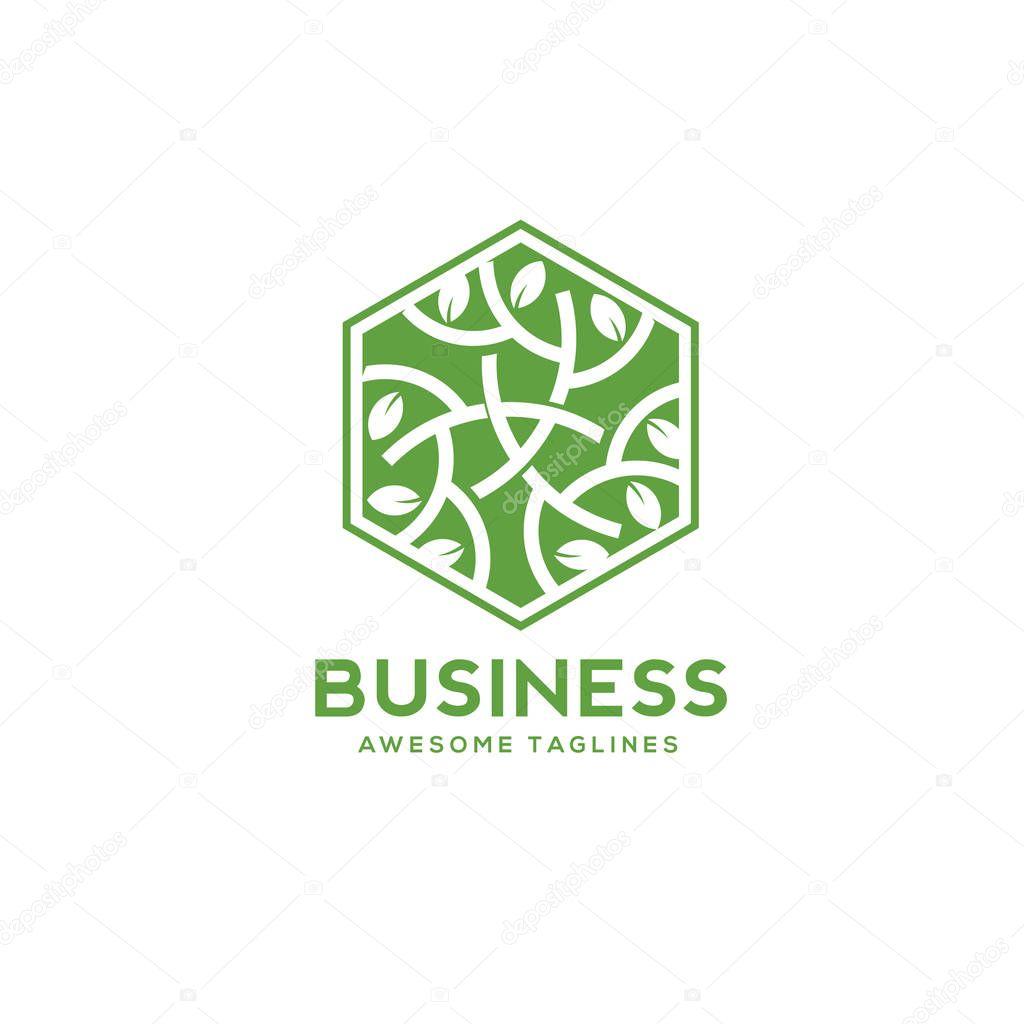 green leaf decorative hexagon