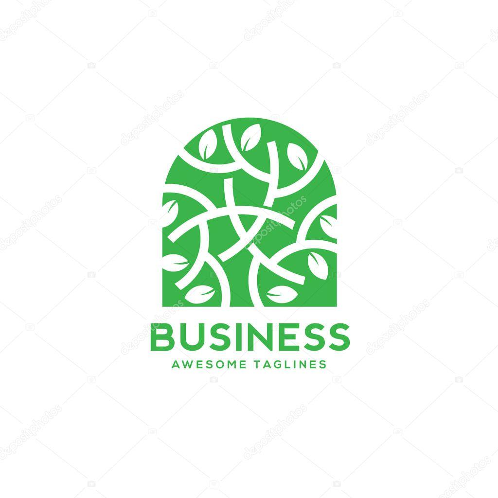 green leaf decorative window logo