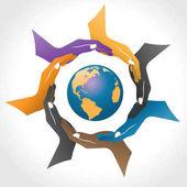 Hände, die den Erdvektor umgeben, Kreis soziale Handfarbe mit Erde im Logo