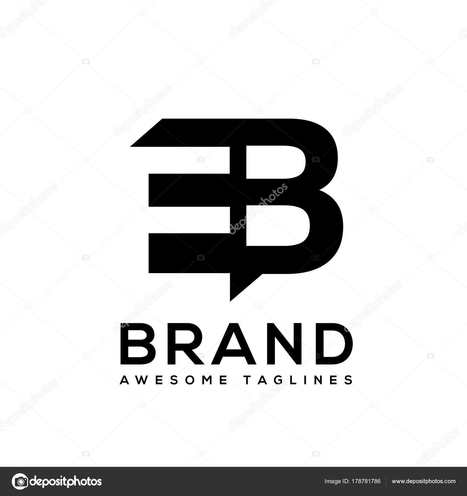 Creative Letter EB Logo Design Black And White Elements Simple LogoBusiness Corporate Vector