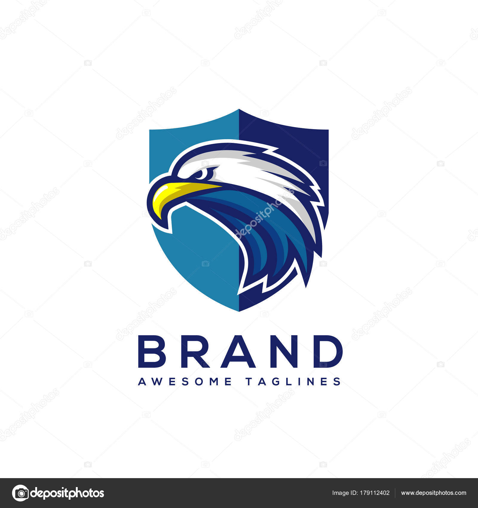 Eagle Head Shield Logo Template Hawk Mascot Graphic Badge Stock Vector