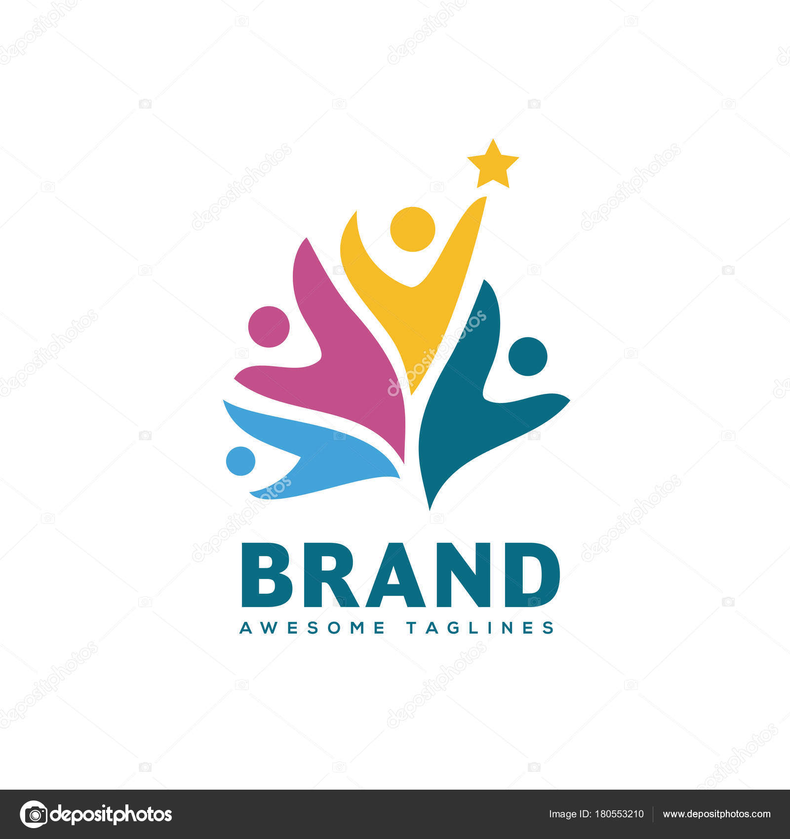 People Community Colorful Logo Template Teamwork Community Symbol ...
