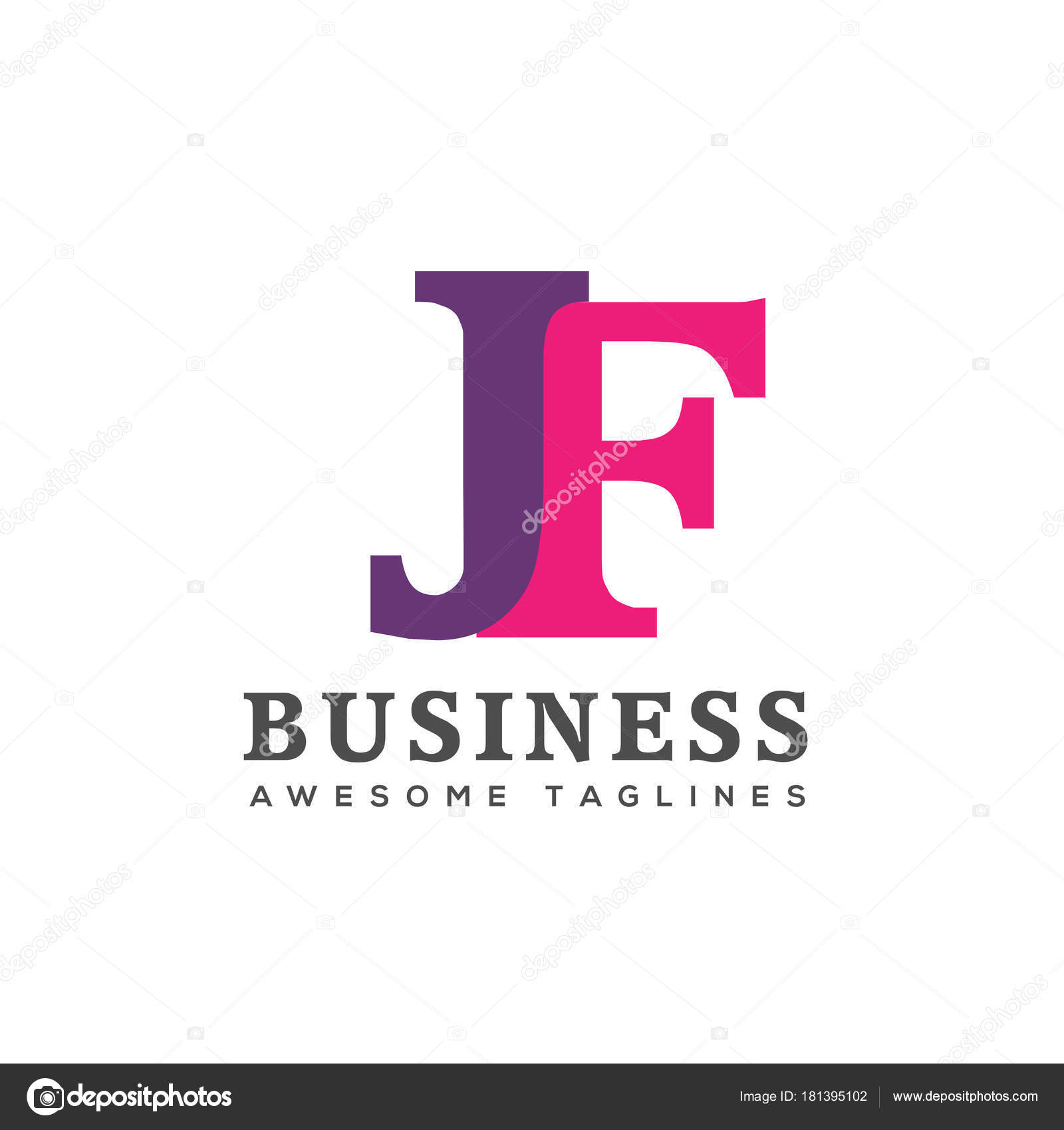 Creative Letter JF Logo Design Elements Simple LogoBusiness Corporate Vector And Clean Flat Of