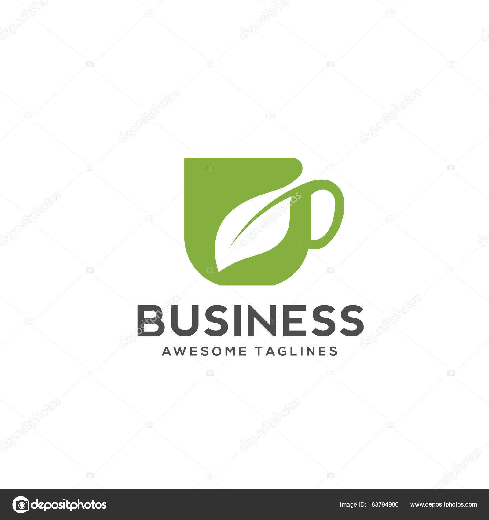Herbal drink logo | Herbal Green Tea Cup Logo Herbal Drink