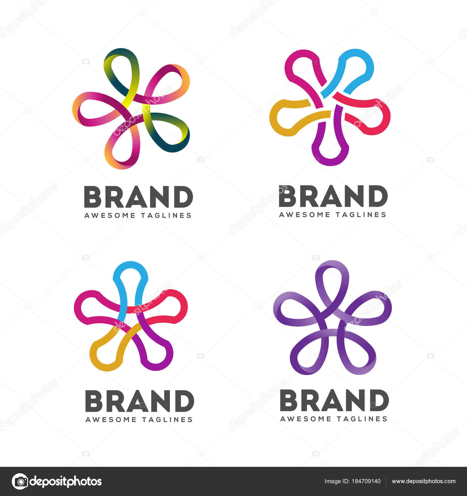 Estrella Conectar Logo Color Vectores Cinta Estrella Abstracta Marco ...