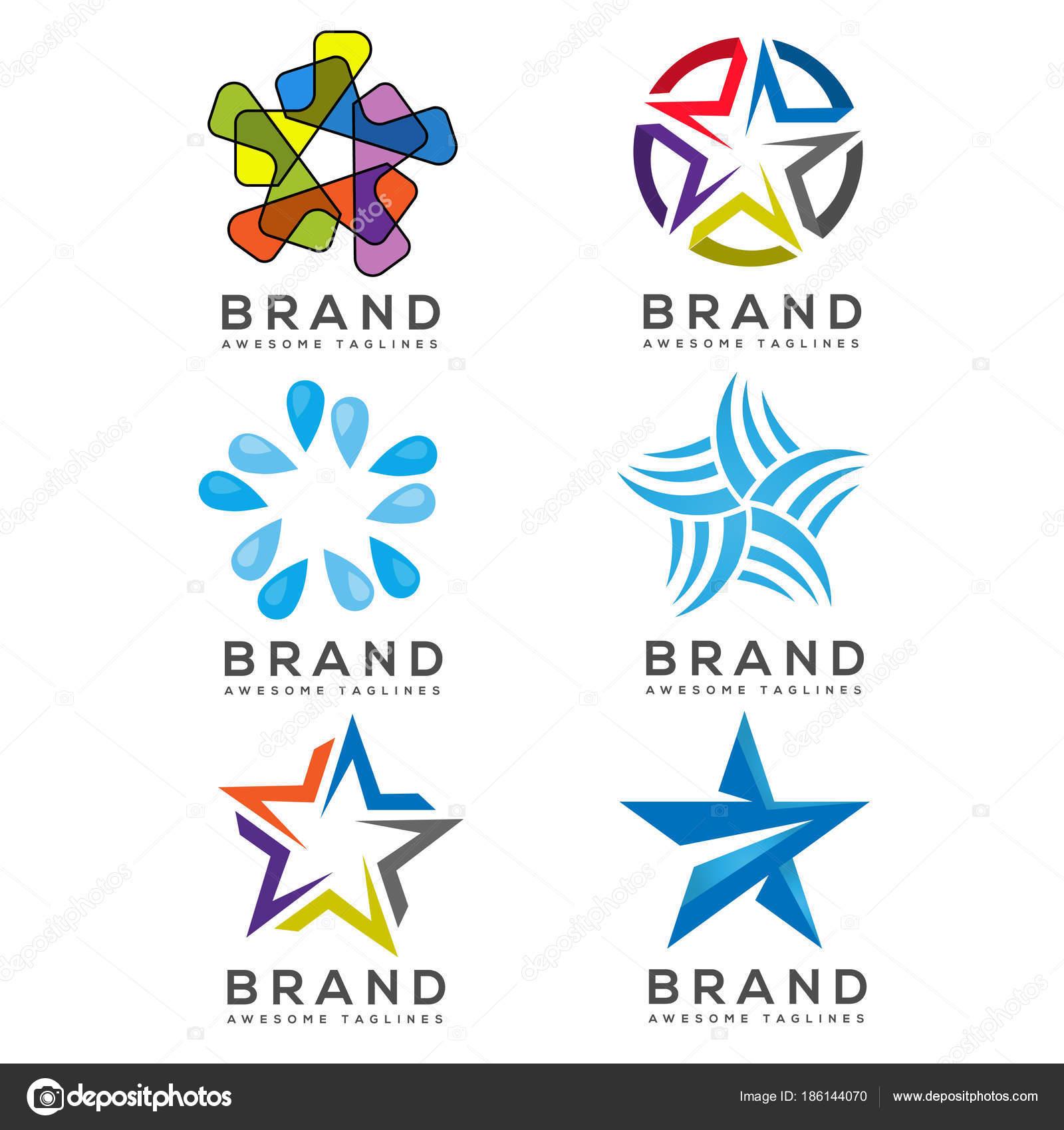 Iconos Estrellas Logo Colección Plantilla Logotipo Estrellas Mejor ...